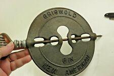 """Vintage Griswold Cast Iron 8"""" New American Flue Damper"""