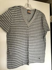 Mens Hugo Boss Gray Stripe V Neck T Shirt Size Medium!