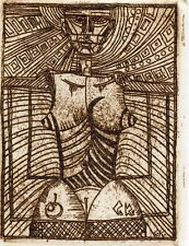 Nude, Original Art Print Etching Ex libris Graphic by Stanislaw Kazimov, Russia