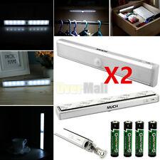 2PCS X 10 LED PIR Motion Sensor Light Cabinet Wardrobe Drawer Lamp Bulb White US