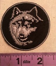 TRIBAL WOLF NATURE HOWL 2.5 INCHES ROUND IRON ON SEW ON EMBROIDERED PATCH