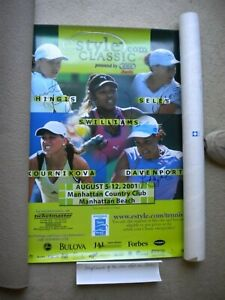 Hand Signed Poster Women's Tennis 2001 estyle.com Classic; Serena/Lindsay/Hingis