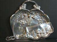 Antique Forbes Silver Co Art Nouveau Quadruple Plate Crumb Tray Set Grape Design