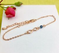 Rose Gold Infinity & Birthstone Charm Bracelet Personalised Gift