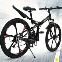 26in Folding Full Suspension Mountain Bike Shimano 21 Speed Bicycle MTB Bike❀