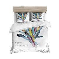 Colorful Feathers 3D Quilt Duvet Doona Cover Set Single Double Queen King Print
