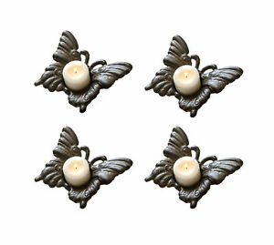 Set of 4 Rustic Brown Cast Iron Butterfly Tea Light Candle Holders