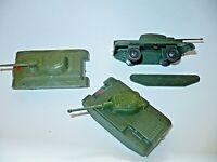 W. Germany 3 Panzer Plastik Modelle  nahe HO 1:100 Flachwagen Ladegut 60' Jahre