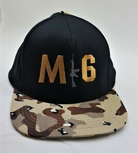 M16 Army Embroidered Snap back Cap Black with logo