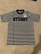 🔥New Stussy Deluxe Archive Striped Tee Navy White Small Cities Logo T-shirt S