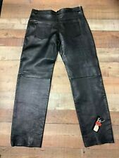 Attractive Unisex Cowhide Black Leather Motorcycle Pants/Jeans  #0123