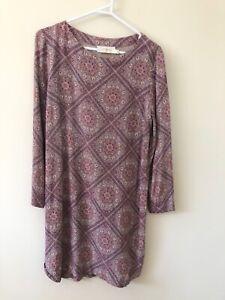 Zimmermann Size 12 / 2 Long Sleeve Damask Square Print Pastel Purple Shift Dress