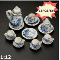 15Pcs Dining Ware Ceramic Blue Flower Set For 1:12 Miniatures Dollhouse Toy N4Z8