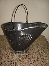 antique COAL SCUTTLE BUCKET primitive (#17 CM) METAL ASH BAIL w/HANDLE vintage