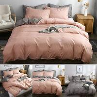 Cotton Simple Design Quilt Doona Duvet Covers Set Single Queen King Size Bed -