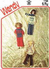 "12""  Dolls clothes knitting pattern..Easy Knit. Laminated copy. (V Doll 149)"