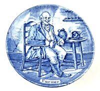 "Enoch Wedgwood Tunstall Blue & White Farmer 4"" Plate England"