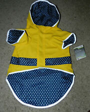 Dog Raincoat in Yellow - with Navy Blue Dot, Water Resistant by Good2Go