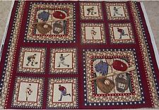 4 Baseball Sports Pillow Panels Fabric Cotton Quilt Sew