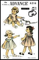 Advance 6216 GIRLS Dress Frock & Panties Panty Fabric Sewing PATTERN PICK 6mt *1