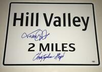 MICHAEL J FOX CHRISTOPHER LLOYD SIGNED HILL VALLEY 18X24 SIGN AUTOGRAPH PROP PSA