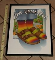 OLD Birkenstock Sandal Advertising Large framed Poster Store Sign LOVE YOUR FEET
