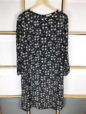 TOAST Black Grey Cream Printed Tunic Dress Size 12 VGC