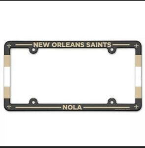 New Orleans Saints Full Color Plastic License Plate Frame NFL 6x12 Inches