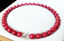 Huge 12mm South Sea Coral Red Shell Pearl Round Beads Necklace 18''