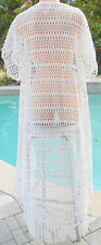 Victorias Secret coverup beach jacket robe ivory crochet long S M NWT swim