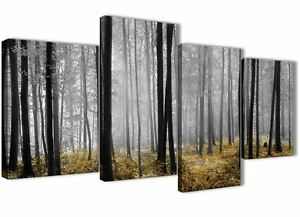 Large Yellow and Grey Forest Woodland Trees Bedroom Canvas Decor - 4384 - 130cm