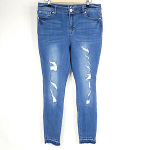 INC Jeans Skinny Denim Pants Womens 12 High Rise Distressed Blue Stretch