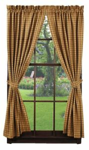 "Mustard Plaid Checked Panels Drapes Curtains 63"" Primitive Farmhouse"