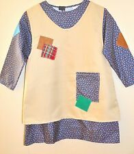 New Kids Annie  Orphan costume  Size 10-12 Years Old Printed Blue Flower / Beige
