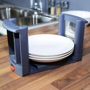 Kitchen Plate Dish Rack Holder Stacker Storage Organizer Adjustable 260-410mm