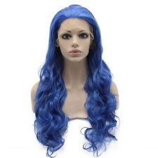 Long Wavy Hand Tied Lace Front Cosplay Party Blue Wig