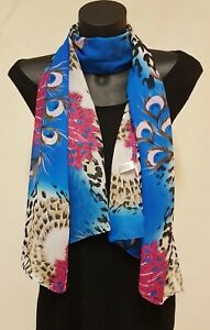30% Silk Ladies Scarf, Cobalt blue & pink feathers, animal print sheer fabric