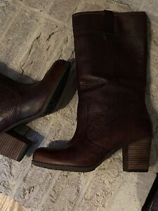 Timberland Earthkeepers Leather Heel Cognac Brown Boots Women's Sz 9.5 19680M