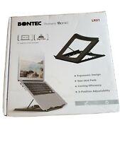 "Black metal Bontec Adjustable Laptop Riser (universal 10"" - 15"" rated 5kg/11lbs)"