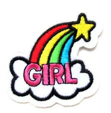 Star Girl Power Rainbow Iron On Patch- Love Peace Embroidered Applique Badge