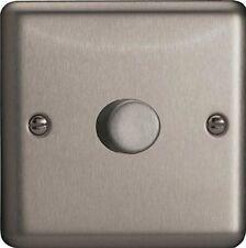 VARILIGHT Classic V-pro Brushed Steel 1 Gang LED Trailing Edge Dimmer Switch 1 2