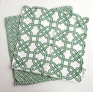 NINA KULLBERG Athens English Ivy Green White Deco Print Linen Cushion Covers