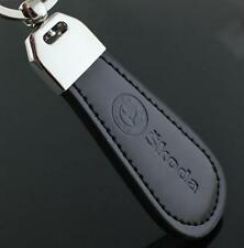 LG100 Black PU Leather Drop Keyring For Skoda Car Logo Key Ring Keychain Gift