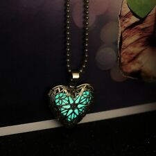 Hot Heart Love Fashion Charm Glow In The Dark Locket Pendant Necklace 2015 Gift