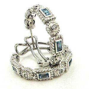 Judith Ripka Blue Topaz Diamonique Hoop Omega Back Sterling Earrings