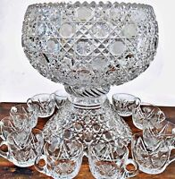 Antique American Brilliant Cut Glass Harvard Punch Bowl w/ Base & 11 Cups 12""
