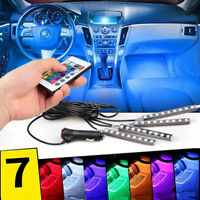 4 x 9LED Remote Control Colorful RGB Car Interior Floor Atmosphere Light Strip