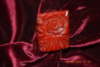 Vintage Cherry Red Engraved Flower etched Bakelite Scarab Ring Size 4.25