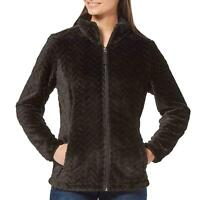 FREE COUNTRY Women's Black Jacket  Chevron Butter Pile Full Zip, 2X-Large