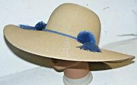 Adrienne Vittadini Toast Paper Straw Large Brim Hat Blue Trim Floppy Beach Sun